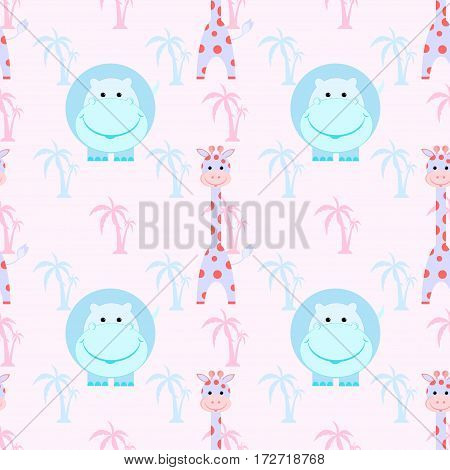 kids seamless pattern with hippo, giraffe, palm trees vector illustration
