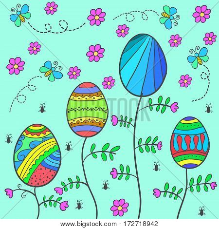 Doodle of easter with flower and egg vector flat