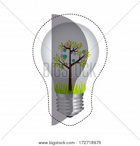 color sticker silhouette with bulb light and tree with flowers vector illustration
