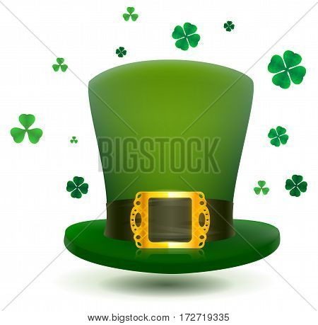 Green top cylinder hat with gold buckle. Luck leaf clover symbol Patricks Day. Isolated on white vector illustration