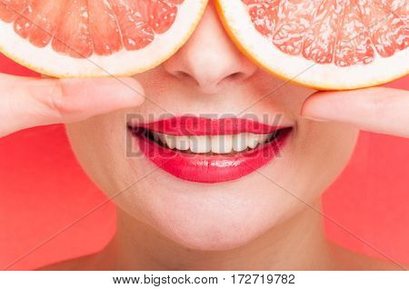 Toothy Smile Of Beautiful Woman In Closeup
