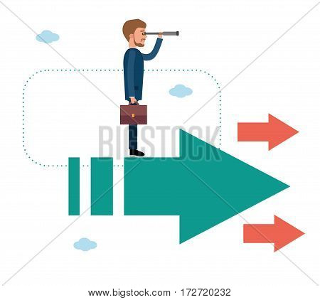 Businessman standing on a flying arrows. Concept flat vector business illustration.