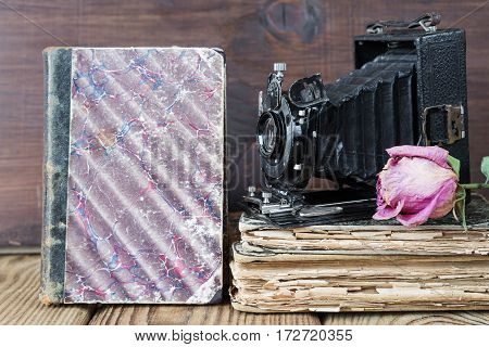 Still life in retro style: vintage photo camera old books and the dried rose