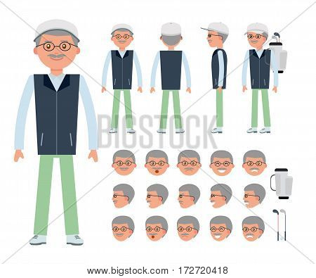 An elderly golfer. Man character creation set. Generator with emotions, moves, work attributes. Build your own design. Cartoon vector flat-style infographic illustration