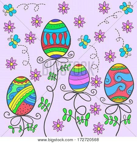 Doodle of easter egg on pink background vector art