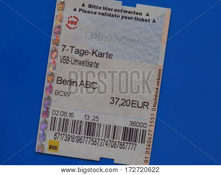 Seven Day Ticket In Berlin Over Blue