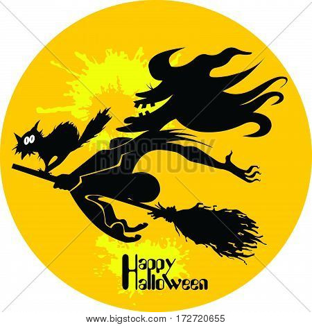 Silhouette witch. Black and white image of Halloween witches