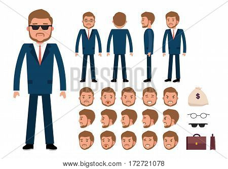 Smart businessman character creation set. Generator with emotions, moves, work attributes. Build your own design. Cartoon vector flat-style infographic illustration