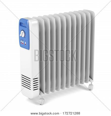Electric oil filled heater on white background, 3D render