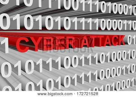 cyber attack binary code background 3d illustration