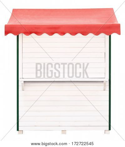 White wooden market stand stall with red awning
