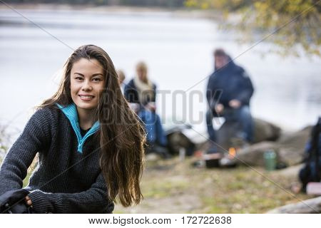 Beautiful Young Woman At Campsite