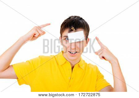 Surprised Young Man with Empty Badge on his Head Isolated on the White Background