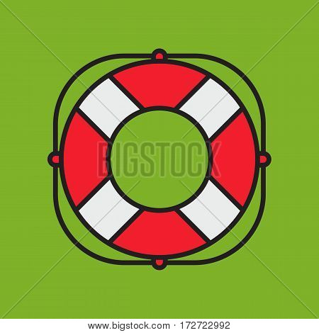 Nautical lifesaver on green background colorful flat style