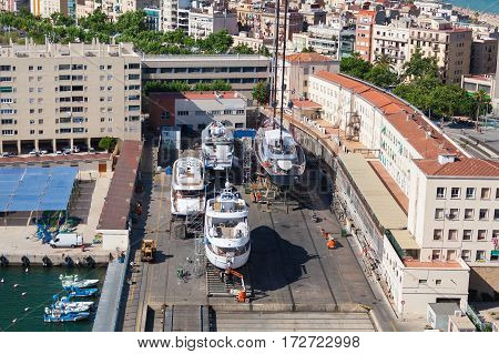 Port of Barcelona. The dry dock for repair of yachts and boats.