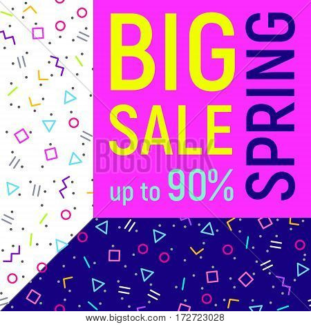 Abstract Big sale banner geometric background with different geometric shapes - triangles circles dots lines. Memphis style. Bright and colorful 90s style. Vector illustration.