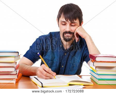 Man with the Books on the Desk Isolated on the White Background