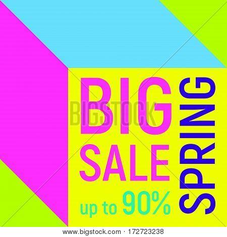 Abstract Big spring sale banner, geometric background, different geometric shapes - triangles, squares, plates. Memphis style. Bright and colorful neon colors, 90s style. Vector illustration