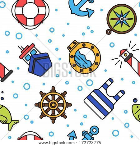 Colorful nautical or sailor seamless pattern on white background
