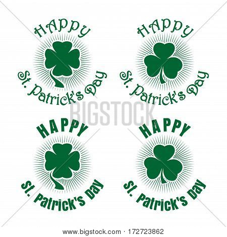 Leaf clover on a background of diverging rays and greeting inscription. Happy St. Patrick's Day. Shamrock, trefoil, clover icon. Celebration symbol. Set of vector green retro icons