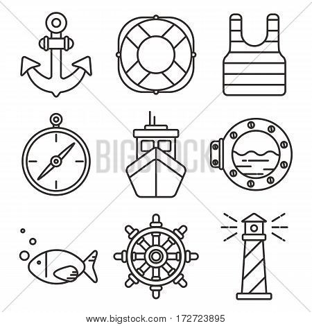 Set of black line icons with nautical or sea theme