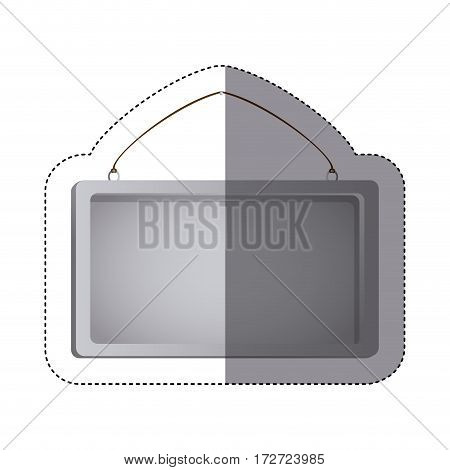 color sticker silhouette with rectangular frame mirror with chain vector illustration