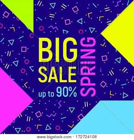 Abstract Big sale banner, geometric background with different geometric shapes - triangles, circles, dots, lines. Memphis style. Bright and colorful neon colors, 90s style. Vector illustration
