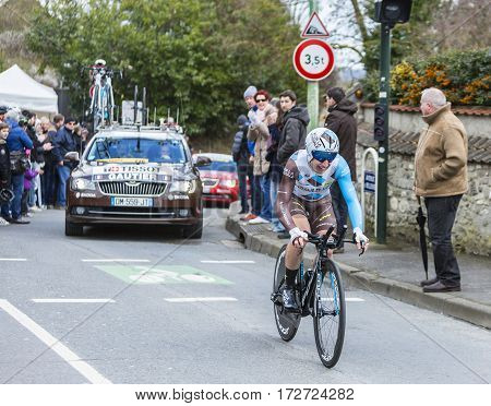 Conflans-Sainte-HonorineFrance-March 62016: The French cyclist Cyril Gautier of AG2R La Mondiale Team riding during the prologue stage of Paris-Nice 2016.