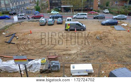 Bracknell, England - February 19, 2017: Cleared land in an urban environment previously used for commercial purposes and now awaiting construction development in Bracknell, England