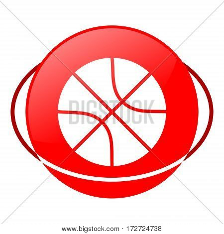 Red icon, basketball vector illustration on white background