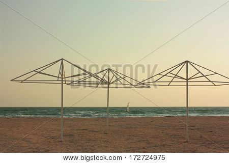 Beach umbrella On Sandy Beach. Sky. Background