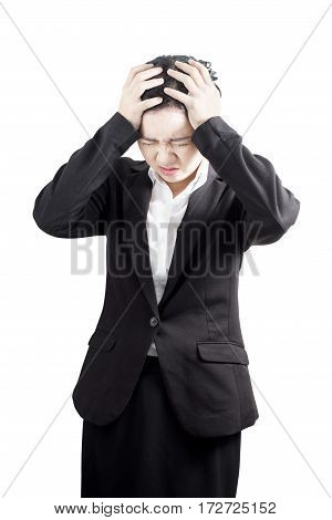 Headache Symptom In A Businesswoman Isolated On White Background. Clipping Path On White Background.