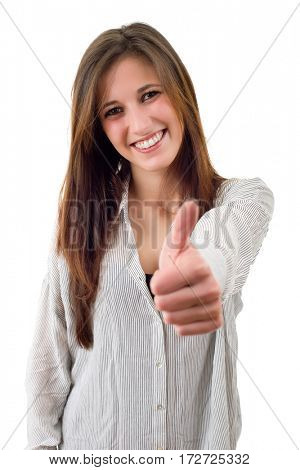 Young casual woman going thumbs up, isolated on white background