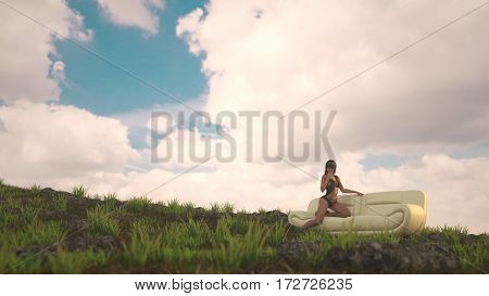3d illustration of the young woman sitting on sofa on a grassy hill