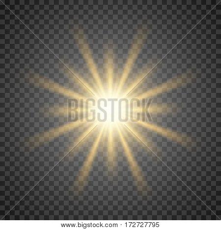 Vector sun light lens flare template illustration.