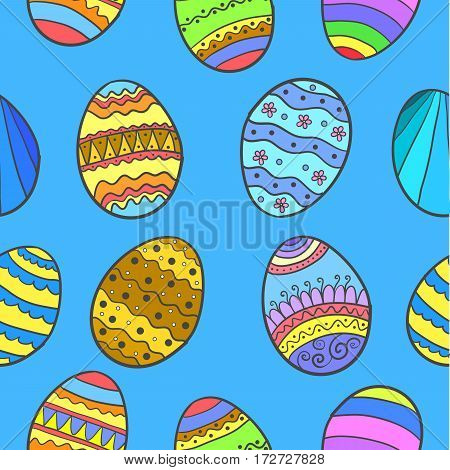 Doodle of easter egg style on blue background vector art