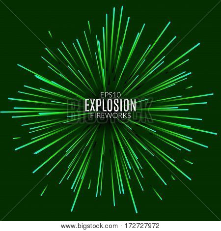 Abstract explosion lines firework concept. Technology modern design template. Light effect.