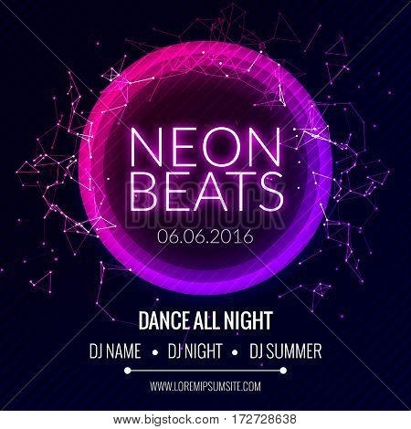 Modern Club Music Neon Beats Party Template, Dance Party Flyer, brochure. Night Party Club Banner Poster