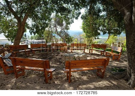 Place for preaching and rest on the territory of the monastery of Dir Rafat Israel