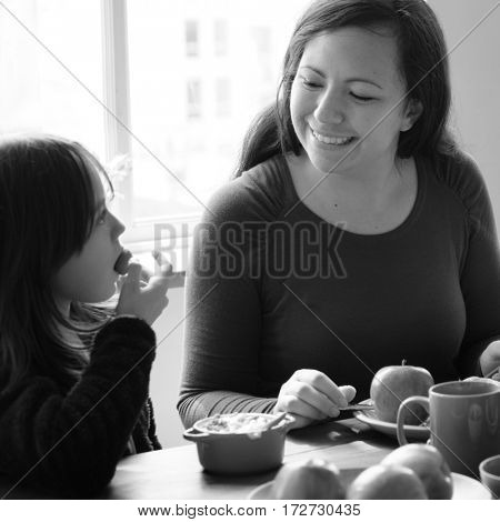 Mom Daughter Spend Time Holiday Eating Breakfast