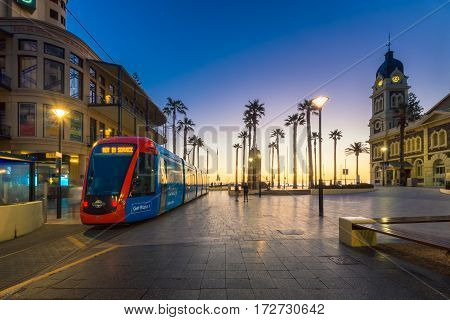Adelaide Australia - August 22 2015: Adelaidemetro tram at Moseley Square Glenelg. Trams are terminated here. Long exposure camera settings