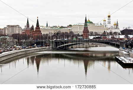 Moscow, Russia - December 29, 2016: Winter Moscow, the Kremlin and the Moscow River frozen