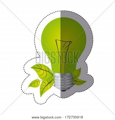 color sticker silhouette with light bulb and leaves vector illustration