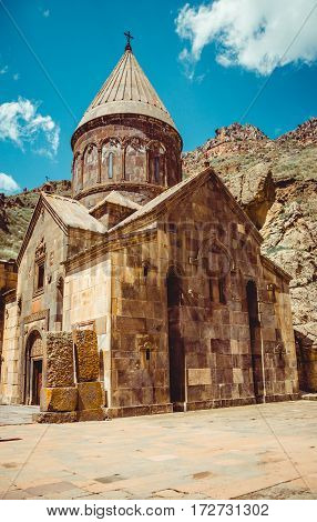 Geghardavank or Geghard monastic complex is Orthodox Christian monastery, Armenia. Armenian architecture. Pilgrimage place. Religion background. Travel concept. Cave monastery. Church Astvatsatsin.