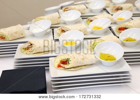 Cheese And Chicken Tortilla Wraps With Dip. Modern Catering.