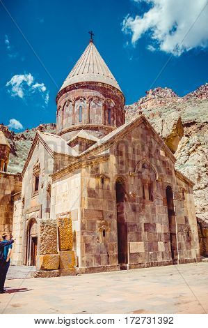 Geghardavank or Geghard monastic complex, Orthodox Christian monastery, Armenia. Armenian architecture. Pilgrimage place. Religion background. Travel concept. Cave monastery. Church Astvatsatsin yard