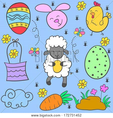 Doodle of easter egg style colorful vector art