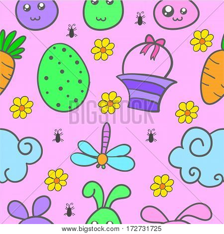 Illustration of easter egg style doodles collection stock