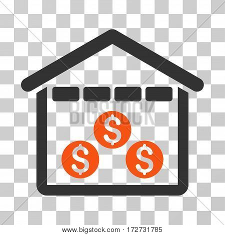 Money Depository icon. Vector illustration style is flat iconic bicolor symbol orange and gray colors transparent background. Designed for web and software interfaces.