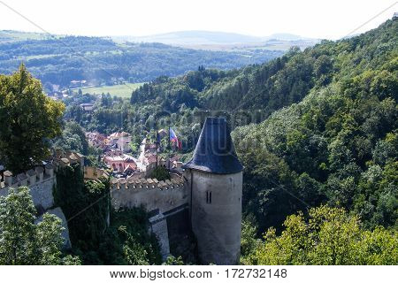 View from top of Karlstein castle on nature.